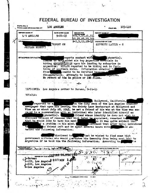 fbi - Hitler escapó de Alemania y el FBI lo sabia