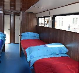 Camas del albergue movil de Concepción