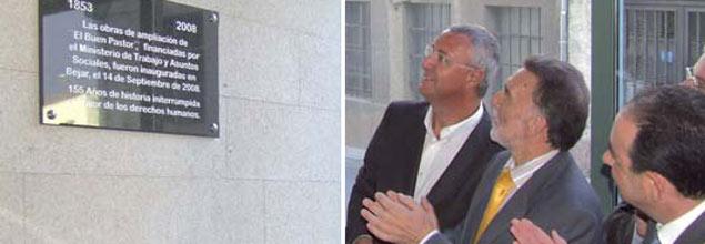 Caldera y Alejo inaugurando la residencia de Béjar
