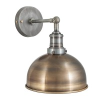 Vintage Industrial Style Brass 8 Inch Dome Lamp Sconce
