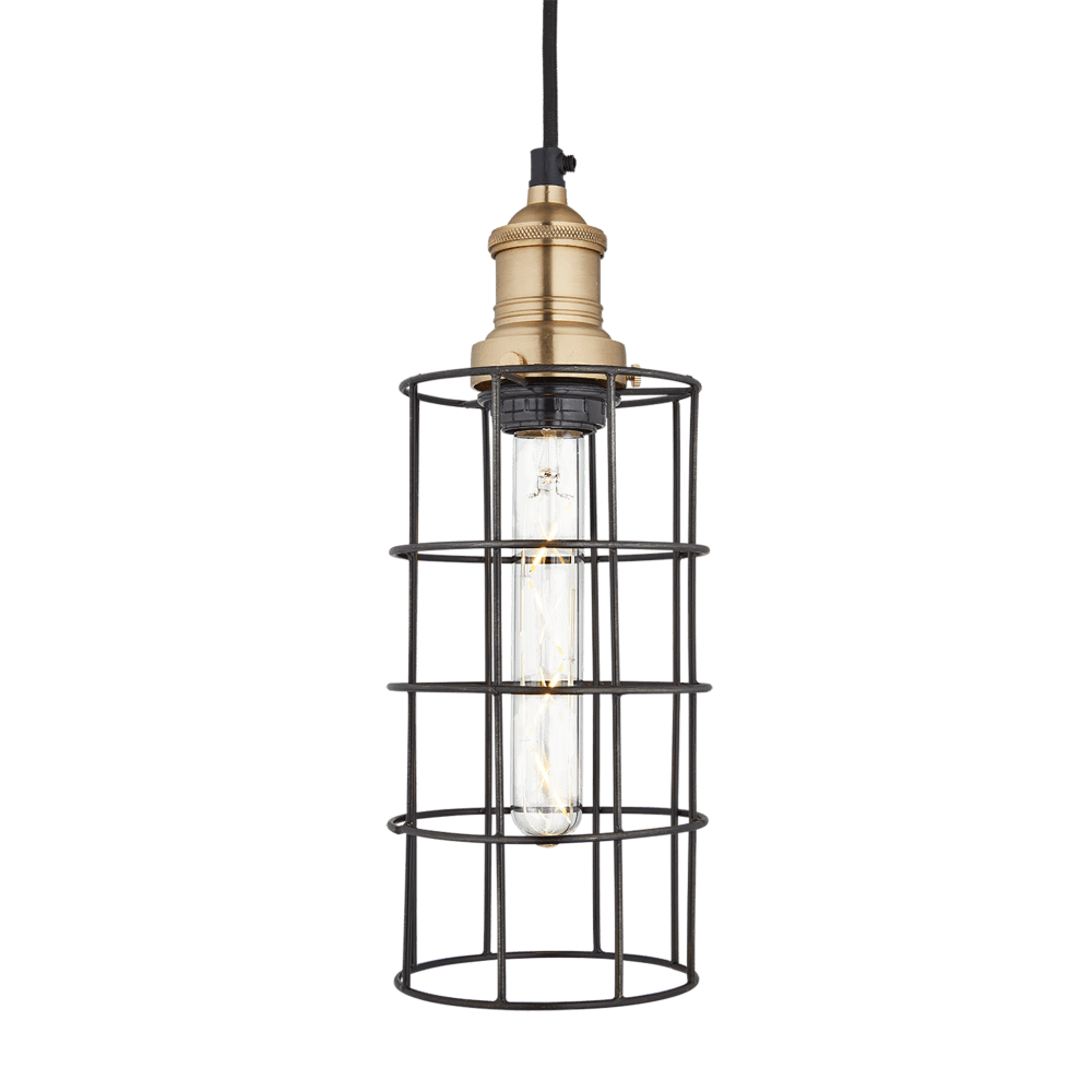 Industville Simple Vintage Wire Pewter Cage Pendant Light