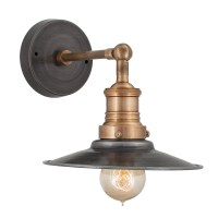 Vintage Industrial Style Pewter Flat Lamp Shade