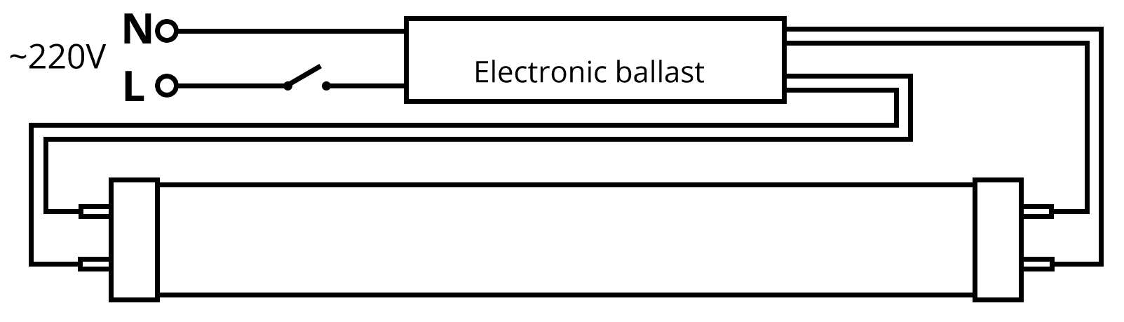 2 L T8 Ballast Wiring Diagram Fluorescent Light Wire Layout