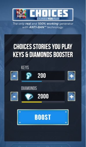 Choose how much keys and diamond you want to generate