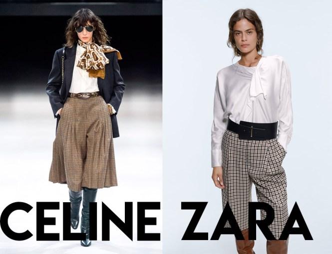 Clon pantalón cuadros Celine VS Zara