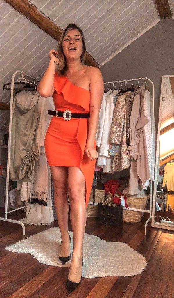 Vestido naranja Femme Luxe
