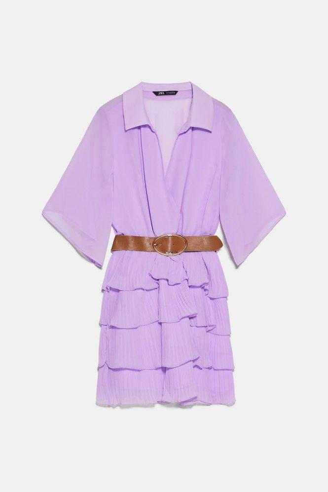 Vestido plisado Zara