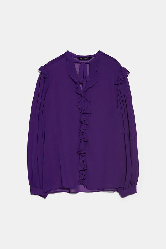 Blusas Zara plisada y volantes