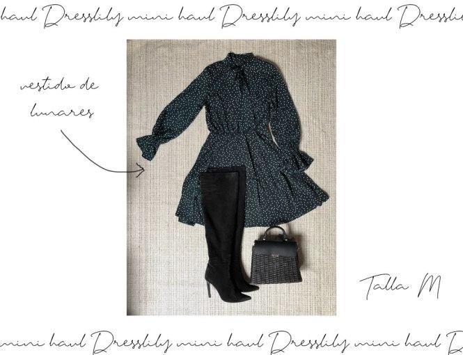 Vestido lazada y lunares de Dresslily