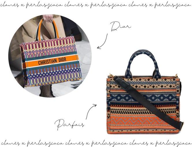 El tote book bag de Dior y su clon de Parfois