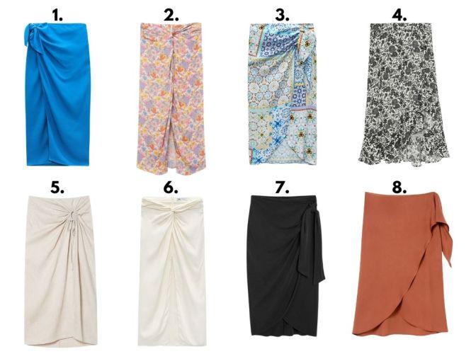 Falda wrap o falda pareo en las tiendas