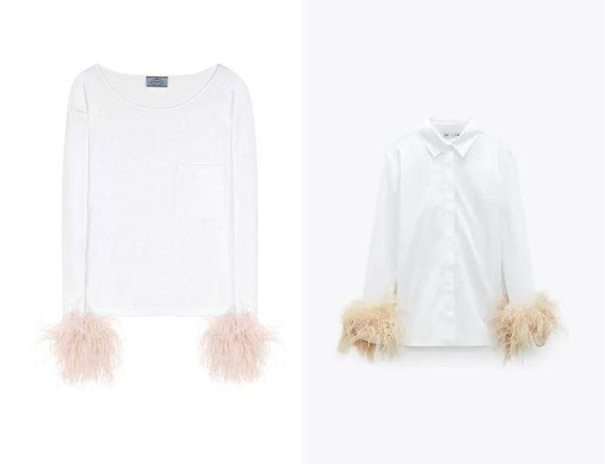 Blusa plumas de Prada SS 2018 vs Camisa Zara plumas