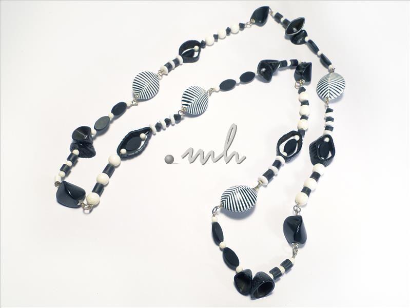 Perlenkette lang schwarz  Modeschmuck