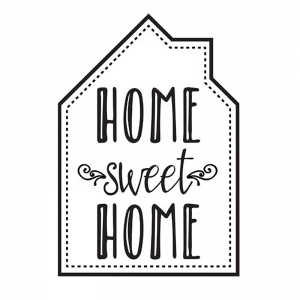 Hotfix transfer Home sweet home 24.8x17 cm Black x1