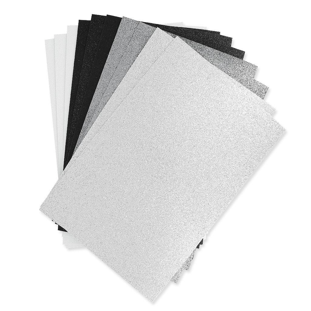 Set Of Foam Sheets To Cut 20x30cm Black Glittering White X10