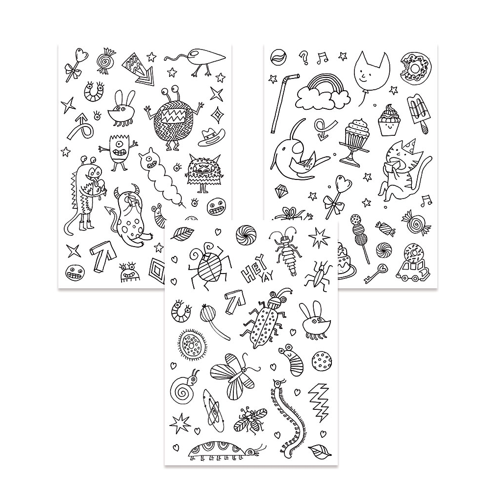Color-in Stickers Colouring activity Monsters and Insects