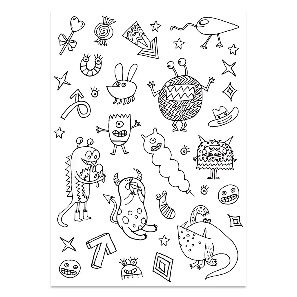 Color In Stickers Colouring Activity Monsters And Insects Pattern X132