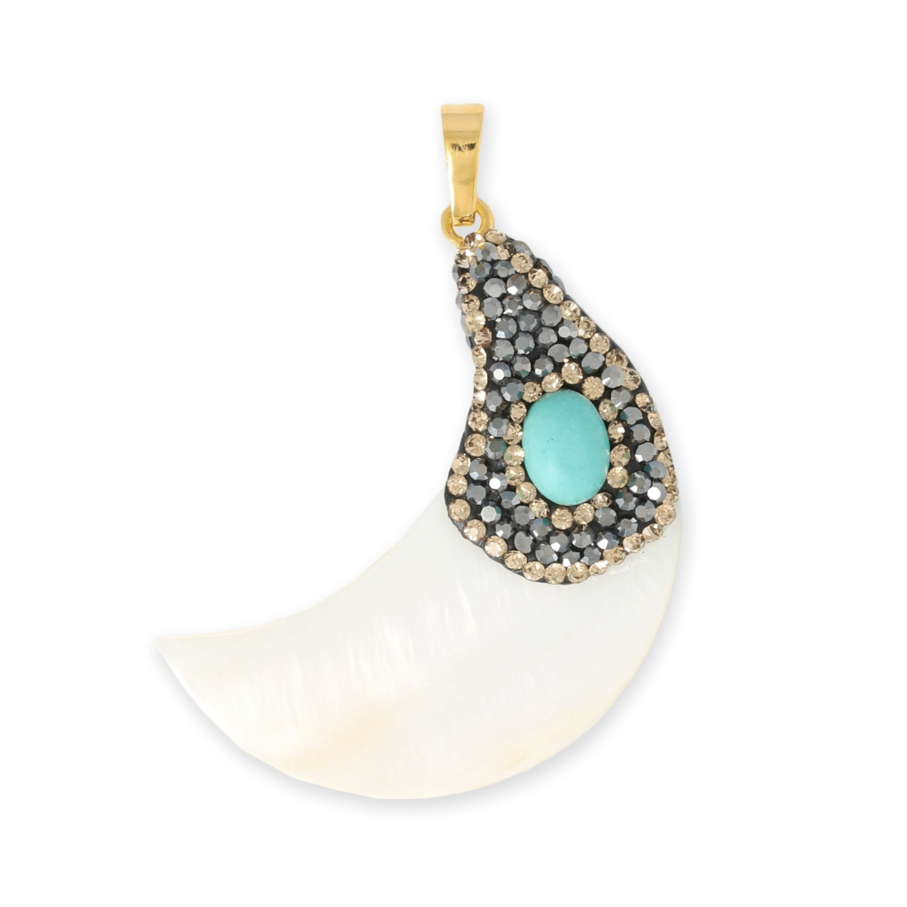 Nacre Pendant Plasticine And Strass 50 Mm Half Moon Or
