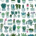 Tissu en coton - Hygge - Cactus - Blanc/Fluo x10cm
