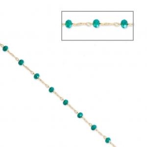 Chaîne avec perles facettées en verre 2.95 mm Doré satiné