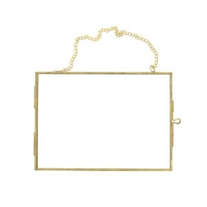 cadre photo rectangle a suspendre herbier mural en verre et metal 180x130x7mm x1