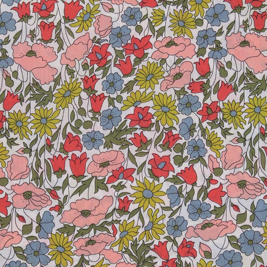 tissu liberty poppy and daisy rose jaune vert x10cm