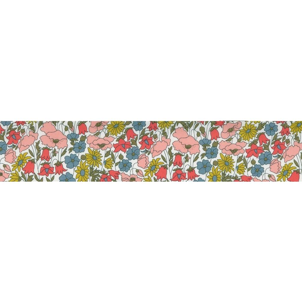 biais en tissu liberty poppy and daisy rose jaune vert x 1m