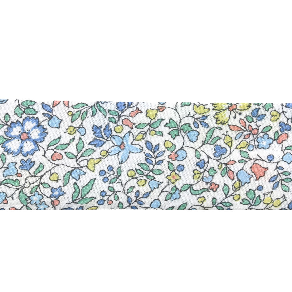 biais en tissu liberty katie and millie pastel bleu vert jaune x 1m