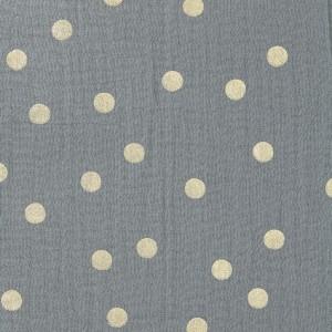tissu double gaze de coton nature matters gros pois dore metallise gris x20cm