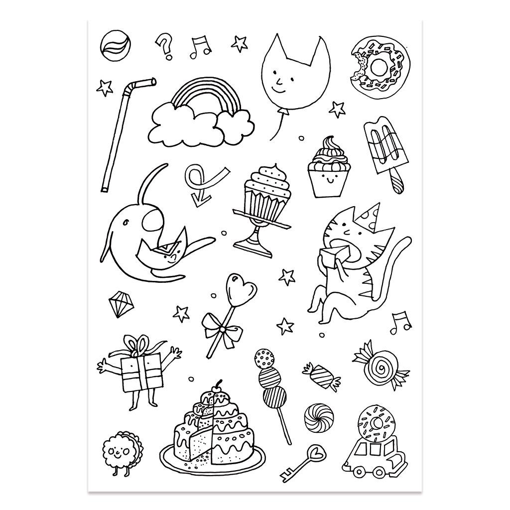 Stickers à colorier Colouring activity motifs Monstre et