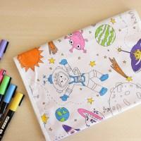 Proteggi-quaderno in tessuto da colorare con pennarelli ...