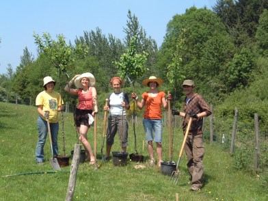 First Permaculture Course 2010 earth works and tree planting.