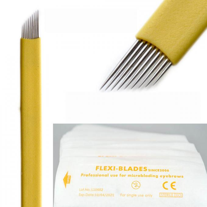 Yellow Thin Flexi Microblading Blades C Shaped Sharp With 0.18mm 9 Pin Needles