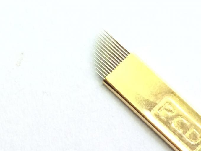Dia. 0.18mm 13 Pin Super Thin Needle Gold Hard Permanent Make Up Blades