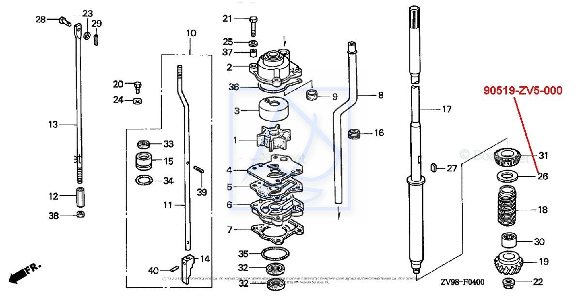 Podkładka spodziny Honda BF25 BF30 BF40 BF50 0,15mm