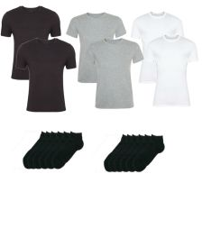Ανδρικές βαμβακερές φανέλες κοντομάνικες 6 τεμάχια σε μαύρο, λευκό και γκρι με 6 ζεύγη κοφτές μαύρες κάλτσες