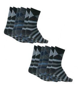 6 ζεύγη βαμβακερές ανδρικές κάλτσες με σχέδιο Μαύρο-Ανθρακί