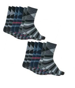 Ανδρικές βαμβακερές κάλτσες με σχέδιο σετ 6 ζεύγη Μαύρο-Μπλε-Γκρι