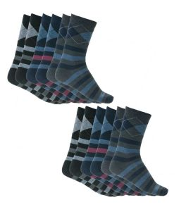 Πακέτο με 6 ζεύγη ανδρικές βαμβακερές κάλτσες με σχέδιο Μαύρο-Μπλε-Ανθρακί