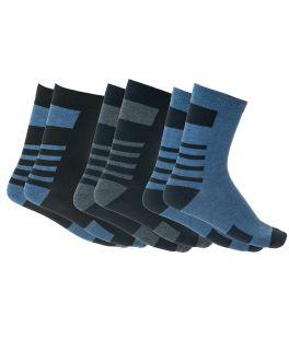 Ανδρικές βαμβακερές κάλτσες με σχέδιο 3 ζεύγη Μαύρο-Μπλε-Μπλε Ραφ