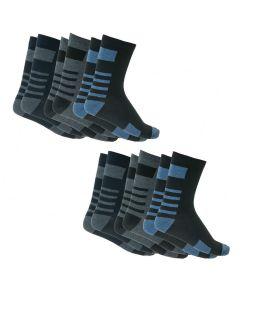 Ανδρικές κάλτσες βαμβακερές σετ με 6 ζεύγη Μπλε-Μαύρο-Ανθρακί