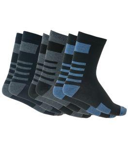 Βαμβακερές ανδρικές κάλτσες με σχέδιο συσκευασία 3 ζεύγη Μαύρο-Μπλε-Ανθρακί
