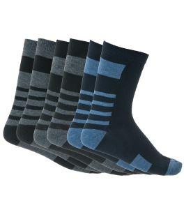 Κάλτσες ανδρικές βαμβακερές με σχέδιο ρίγες 3 ζεύγη Μαύρο-Μπλε-Ανθρακί