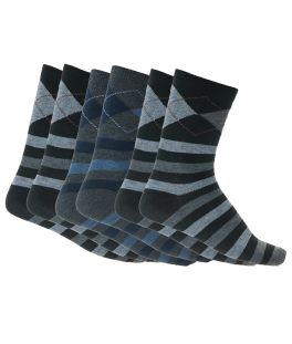 Βαμβακερές ανδρικές κάλτσες συσκευασία 3 ζεύγη με σχέδιο Μαύρο-Ανθρακί