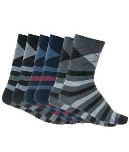 Ανδρικές κάλτσες βαμβακερές με σχέδιο 3 ζεύγη Μαύρο-Μπλε-Ανθρακί