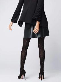 Γυναικείο καλσόν μαύρο 40den με μικρά λευκά πουά