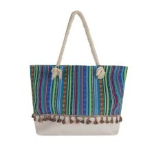 Τσάντα θαλάσσης πολύχρωμη με μικρές φουντίτσες