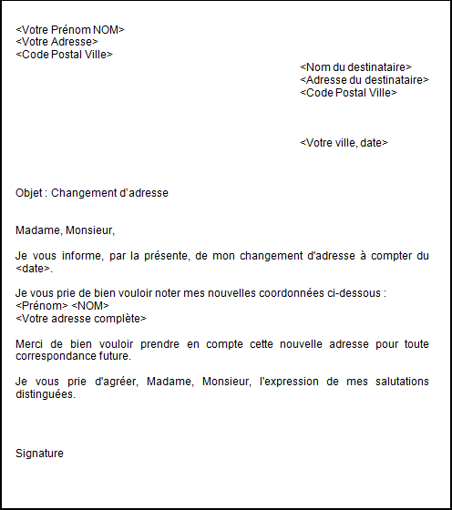 exemple de courriers administratif
