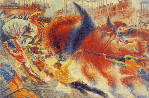 Unberto Boccioni, 1910 - Hiria esnatzen da