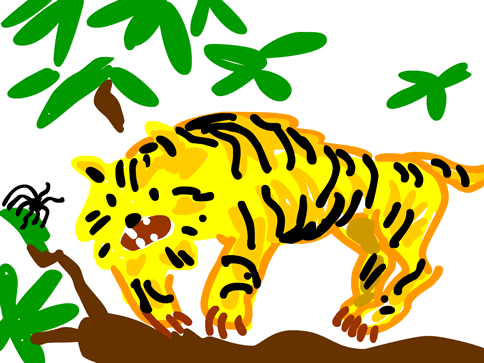 Childish illustration about a tiger